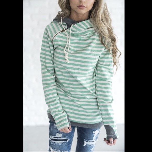 DoubleHood™ Sweatshirt Mint Stripe
